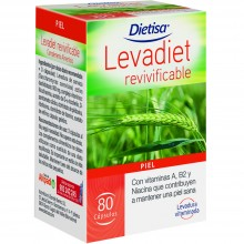 Dietisa - Levadiet Revivificable | Nutrition & Santé | 80 cáps | Levadura de cerveza y Vitaminas B, A y E | Piel, Cabello y Uñas