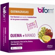 Biform - Quema + Mango | Nutrition & Santé | 30 cáps. 400mg | Mango Africano, Guaraná y Vara de Oro | Grasas