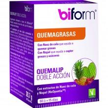 Biform - Quemalip Doble Acción | Nutrition & Santé | 60 cáps. 400 mg | Nopal, Nuez de Cola, Piña y Naringina de Pomelo | Grasas