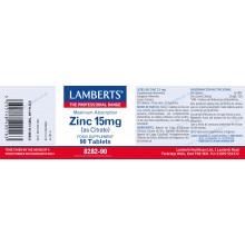 Zinc 15 mgr | Lamberts | 90 comps | Piel – uñas – pelo – sistema inmune