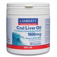 Aceite de Hígado de Bacalao | Lamberts | 180 cáps. 1000mg | Desarrollo Muscular/ Defensas