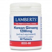 Ginseng Coreano   Lamberts   60 cáps. 1200 mg   Circulación