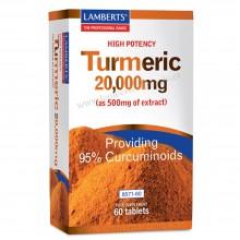 Cúrcuma o Turmeric | Lamberts | 60 Cáps de 20.000 mg. | Antiinflamatorio - Cuidado Óseo y Articular