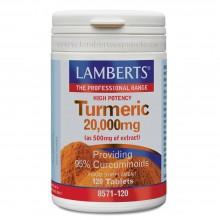 Cúrcuma o Turmeric | Lamberts | 120 Cáps de 20.000 mg. | Antiinflamatorio - Cuidado Óseo y Articular