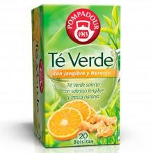 Té verde con jengibre y naranja | Pompadour | 20 bolsitas | Diurético