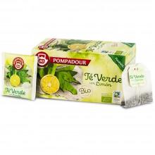 Té verde con Limón BIO | Pompadour | 18 bolsitas | Diurético y Activador