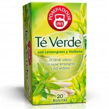 Té verde con Lemongrass y Verbena | Pompadour | 20 bolsitas | Diurético