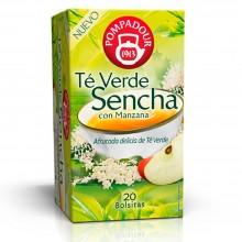 Té verde Sencha con Manzana | Pompadour | 20 bolsitas | Estimulante