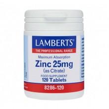 Zinc 25 mgr | Lamberts | 120 comps | Piel – uñas – pelo – sistema inmune
