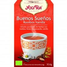 Yogi Tea| Buenos sueños Rooibos Vainilla| Nutrition & Santé | 17 bolsas|Camomila, Rooibos, Cacao, Vainilla, Jengibre - Relajante
