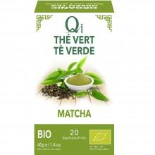 Qi - Té verde con Matcha BIO| Nutrition & Santé | 20 bolsitas| Hojas de té verde y Matcha | Activador & Diurético