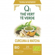 Qi - Té verde con Cúrcuma y Matcha BIO| Nutrition & Santé | 20 bolsitas| Té verde, Jengibre, Cúrcuma y Matcha| Activador