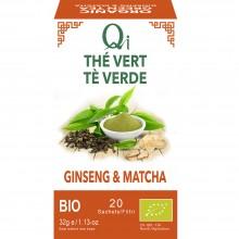 Qi - Té verde Jinseng y Matcha BIO| Nutrition & Santé | 20 bolsitas| Té verde, Regaliz, Canela, Ginseng y Matcha| Vitalidad