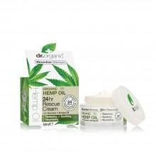 Crema Facial de Rescate 24h | dr. Organic  | 50 ml  | Con Aceite de Cáñamo Orgánico - 100% Bio