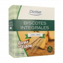 Dietisa - Biscotes Integrales con Lino | Nutrition & Santé | 270g |  Harina Integral de Trigo, Aceite oliva  | Panadería