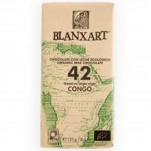 Blanxart - Chocolate con Leche Congo 42% | Nutrition & Santé | 125g | Azúcar, manteca de cacao, Leche, Cacao | Chocolates