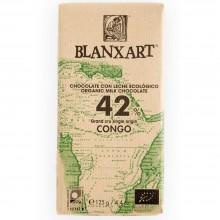 Blanxart - Chocolatina con Leche Congo 42% | Nutrition & Santé | 48g | Azúcar, Manteca cacao, Vainilla, Leche | Chocolates