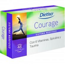 Dietisa - Courage | Nutrition & Santé | 48cápsulas | Spirulina, óxido de magnesio, L-Taurina, L-Tirosina | Sistema Nervioso
