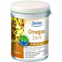 Dietisa - Omegas 3-6-9 | Nutrition & Santé | 60 cápsulas | Aceite de Salmón, de Onagra, de Oliva y de Lino | Omegas